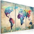 3PC/Set Huge Vintage Unframed Canvas Prints World Map Art Paintings Wall Decor