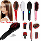 Electric Auto Hair Straightener Comb LCD Display Iron Brush Straight Hair Tool M