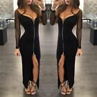 Sexy Mesh Women Long Sleeve V Neck Zipper Bodycon Evening Party Cocktail Dress