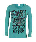 Vocal Women Plus Size Tunic Shirt L/S  Crystal Fleur Cross Round Neck in Teal