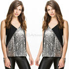 Women Silver Sequins Clubwear Vest Top Loose Sleeveless Tank Tops T-Shirt Blouse