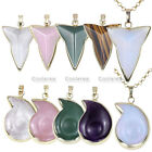 Fashion Golden Alloy Edge Wrapped Triangle Dart Spiral Gemstone Pendant Necklace
