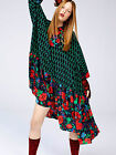 KENZO H&M Womens Pure Mulberry Silk  Floral Print Wide Oversized Dress UK 10 14