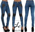 NEW SEXY WOMEN CELEB STYLE BIKER LOOK STRETCHY JEANS PANTS SIZE 6 8 10 12 14