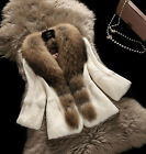 100% Real Rabbit Fur Coat Women Fur Jacket with Big Raccoon Fur Collar New C0080