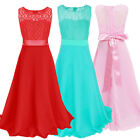 Girl Kid Dress Flower Wedding Pageant Long Maxi Gown Lace Chiffon Prom For 7-16Y