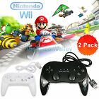2 PCS Classic Controller Pro Gamepad Joypad for Nintendo Wii/Wii U Remote Black