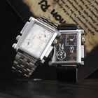 New Men's Rectangle Oversized Fashion Stainless Steel Hours Quartz Wrist Watch