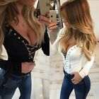 Women Deep V Neck Low Cut Ribbed Knit Jumper Lace-up Tops Shirt White Black S-XL