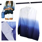 Gradient Color Blouse V Neck Long Sleeve T-shirt Casual  Soft Summer Women Lady