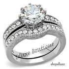 3.15 CT ROUND CUT CZ STAINLESS STEEL VINTAGE WEDDING RING SET WOMEN'S SIZE 5-10