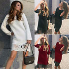 Fashion Women Loose Cotton Long Sleeve Blouse Tops Casual Short Lace Shirt Dress