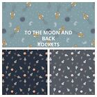 PATCHWORK/ CRAFT FABRIC  LEWIS & IRENE - TO THE MOON AND BACK - ROCKETS