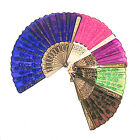 Flocked Design Fabric Handheld Folding Fan for Dancing Parites Costumes A225
