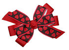 Baby Girls Black & Red Heart Valentines Hair Bow Infant Stretch Headband or Clip