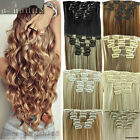 Cheap Price Long Curly Straight Clip in Hair Extensions Full head 7pcs for human