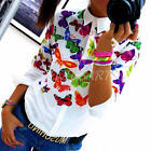 New Fashion Women's Loose Long Sleeve Chiffon V Neck Casual Blouse T Shirt Top
