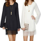 Women Sexy  Long Sleeve Party Mini Chiffon Dress Loose Lace Beach Dresses SEAU