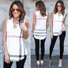 Women Lady Chiffon V Neck Loose Blouse Casual T-Shirt Sleeveless Tee Loose Tops