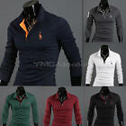 Fashion Mens Summer Slim Fit Casual long Sleeve POLO Shirt T-shirts New Tee Tops