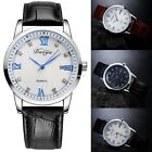 New Men Fashion Casual Artificial Leather Band Round Dial Quartz Watch EN24H
