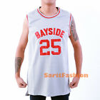 Zack Morris #25 Saved By the Bell Stitched Basketball Jersey Bayside Tigers Gray