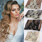 100% Real Natural for human Hair 8Pc Full Head Clip In Hair Extensions Extension