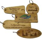 wooden engraved personalised hotel key fobs tags