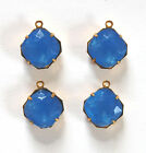 VINTAGE UNFOILED GLASS POWDER BLUE OCTAGON SQUARE PENDANTS • 8mm 12mm