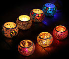 Handmade Glass Tea Light Holder Votive Moroccan Mosaic Style Table Candle Lamp