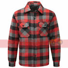 Check Flannel Padded Lumberjack Work Shirt Mens Thick Quiltlined Working Warm