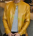 Men's Gents Yellow Adjustable Collar Casual Shirt Soft Leather Shirt Jacket LM25