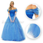 New Cinderella Sandy Princess Cosplay Costume Adult Blue Dress Women Party GownF