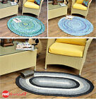 Round Braided Cotton Fabric Floor Rug Natural Blue Green Black Oval Mat 120cm