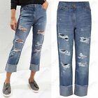 NEW WOMENS RIPPED CUT BOYFRIEND BLUE JEANS LADIES LOOSE FIT LOOK DENIM TURN UP