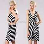 Women V-neck Sleeveless Backless Bandage Bodycon Short Stripe Pencil Dress S0BZ