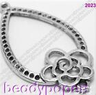 8 - 20 Antique Style Silver 39 mm Flower Pendant Hanger Nickel Free 2023