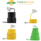 TerraBloom Heavy Duty Outdoor SJEOW TPE Extension Power Cord With 3 Outlets, UL
