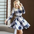 Womens Spring Casual Plaid Long Sleeve Evening Party Cocktail Short Dress S0BZ