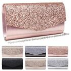 LADIES NEW GLITTER CLUTCH SMALL SHOULDER BAG ELEGANT GLAM PROM EVENING PURSE