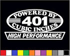 2 HIGH PERFORMANCE 401 CUBIC INCHES DECAL SET HP V8 ENGINE EMBLEM AMC STICKERS