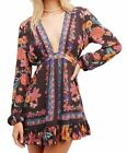 Free People Women's Violet Hill Print Tunic, Floral, Low Plunge Neck US SIZING