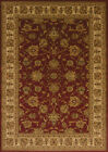 Red Traditional Oriental Carpet Floral Scrolls Leaves Bordered Olefin Area Rug