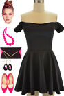 50s Style Sandra Dee RIZZO Style BLACK Off T/Shoulder Tight Fit PINUP Mini Dress