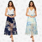 Women Sexy Formal Evening Party Long Prom Summer Splicing Lace Deep V dress