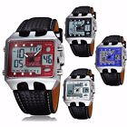 Men's Multi-function Military Sport Leather Alarm Quartz Analog Digital Watch