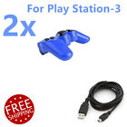 2 lot New Wireless Bluetooth Game Controllers For Sony PS3 Playstation 3 + Cable