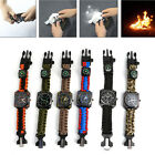 Outdoor Survival Bracelet Paracord Watch Compass Whistle Fire Starter for Hiking