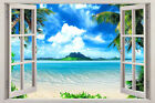 Wall sticker, 3D window, Removable, Reusable,wood or vinyl frame Ocean style 005
