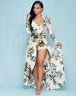 S-XXXL long sleeve maxi dress floral short romper dress boho split chiffon dress